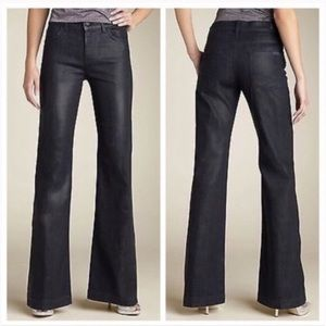 7 FAM Ginger Flare Wax Coated Black Jeans